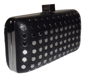 MILLY Minaudire Evening Studded Leather Strap Drop Black Clutch