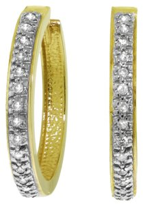0.28 CT Diamond 14k. Yellow Gold Hoop Huggie Earrings