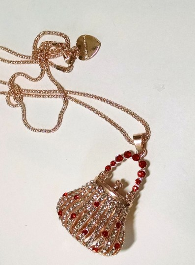 Betsey Johnson Betsey Johnson Purse Pendant Necklace New Gold Tone Red J1194