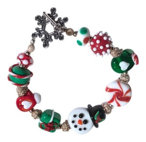 Art Glass ART GLASS CHRISTMAS CANDY SNOWMAN BEAD CHARM STERLING BRACELET