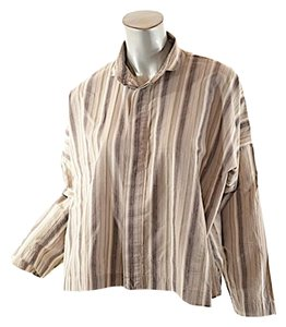 Eskandar Top Browns & White Stripe