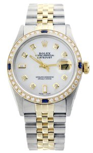Rolex Rolex Datejust 36mm Stainless Steel and 18K Yellow Gold Diamond and Sapphire Mother of Pearl Watch
