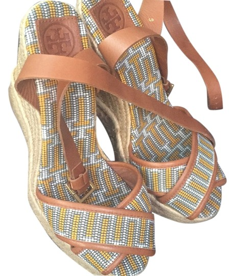 Tory Burch Sandals Espadrilles Brown, yellow, gray, white Wedges