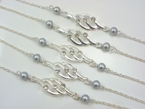 Grey Set Of Bridesmaid Pearls Bridesmaid Silver Charm Bridesmaid Gift Bracelet