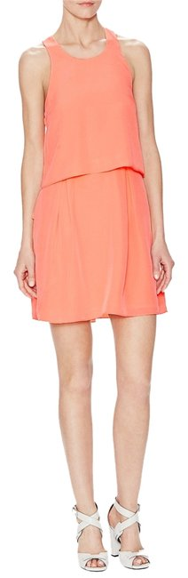 Item - Coral Double Layer Sleeveless Above Knee Night Out Dress Size 4 (S)