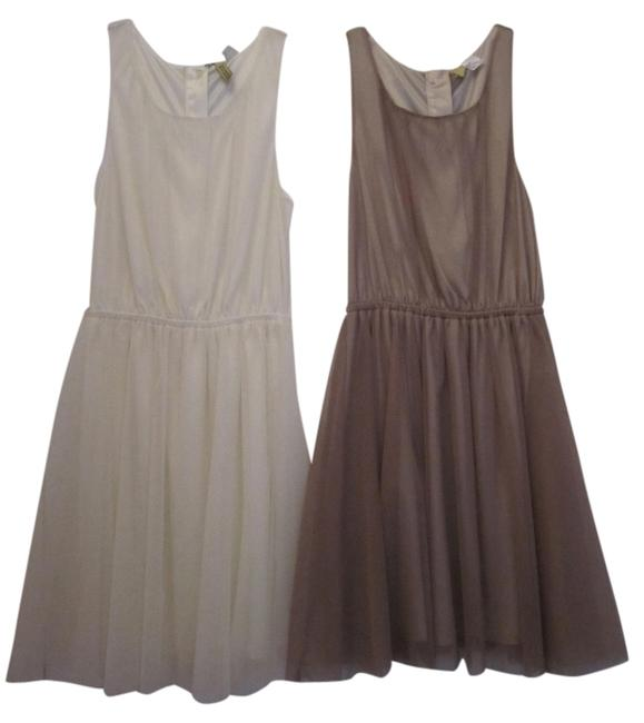 Item - Cream & Gold Knee Length Night Out Dress Size 4 (S)