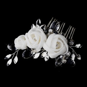 Elegance By Carbonneau Ivory Chiffon Flower Hair Bridal Comb 942