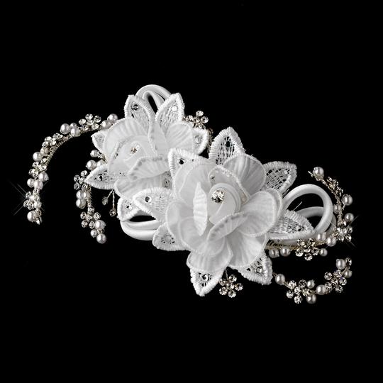 Elegance by Carbonneau Ivory Flower and Crystal Comb Hair Accessory
