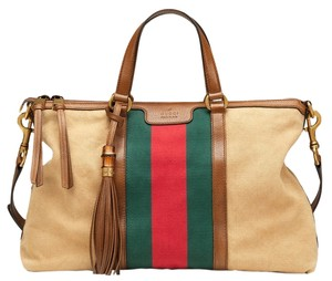 Gucci Multicolor Rania Cotton Washed Cotton Web Tassels Made In Italy Italian Italy Gg Signature Gold Hardware Vintage Top Satchel in Beige