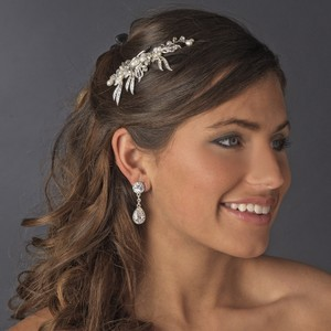 Elegance by Carbonneau Silver Lovely Comb White Pearls Clear Rhinestones 8988 Hair Accessory