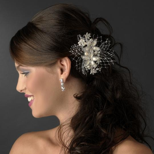 Elegance by Carbonneau Silver/Dark Ivory Floral Comb with Freshwater Pearls 9813 Hair Accessories