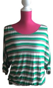 Max Studio T Shirt Green, Cream & Nutmeg