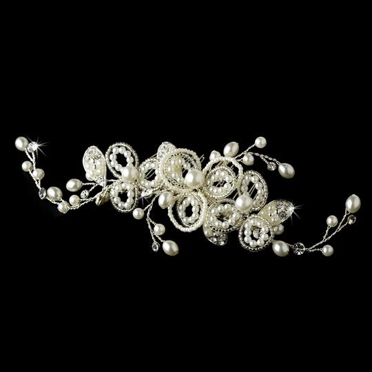 Elegance by Carbonneau Ivory Pearl Comb 8109 Hair Accessory