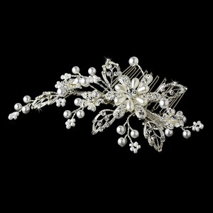 Elegance by Carbonneau White/Silver Pearl Crystal Couture Comb 1643 Hair Accessory