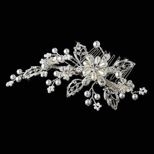 Elegance by Carbonneau White/Silver Pearl Crystal Couture Comb 1643 Hair Accessories