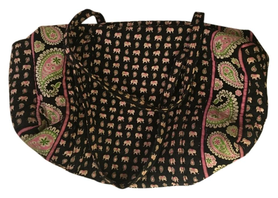 Vera Bradley Large Duffel Black Pink Cotton Weekend Travel Bag - Tradesy 3475228bd167b