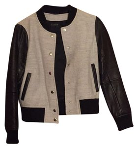 Club Monaco Black and Gray Leather Jacket