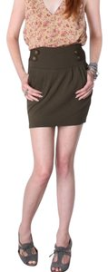 Costa Blanca Military Army Short Military Style High Waist Vintage New Xs Xsmall Mini Skirt Khaki Olive Green