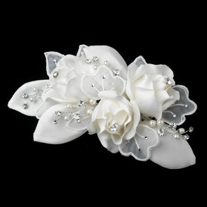Elegance by Carbonneau Ivory Silver Pearl Rhinestone Accent Comb 9648 Hair Accessory