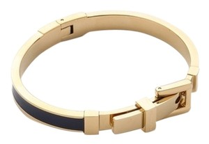 Michael Kors Michael Kors Gold-Tone & Black Enamel Buckle Bangle Bracelet