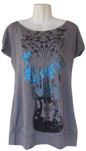 Ginger G Metallic Guitar Bird Butterfly Leaves Rock Rock And Roll Tunic