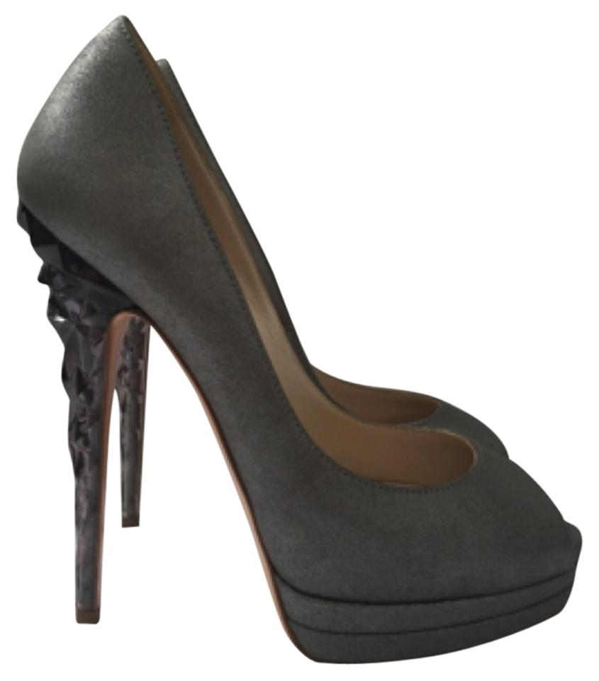 Casadei Dark Gray Metallic Gray Dark Acrylic Heels Platforms 6c98f2