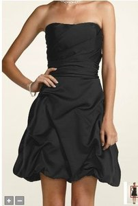 David's Bridal Black Satin 84091 Modern Bridesmaid/Mob Dress Size 4 (S)