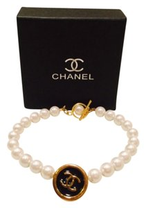 Chanel Pearl & Authentic Button Bracelet