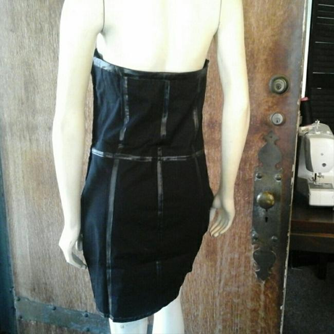 Feline Faux Leather Above Knee Sleeveless Tube Bustier Striped Band Party Club Dinner Cocktail Dress