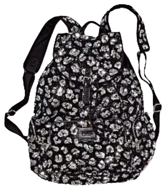 Item - Pink Collection: Large Bling Cheetah Black with Silver Sequins Cotton Canvas Backpack