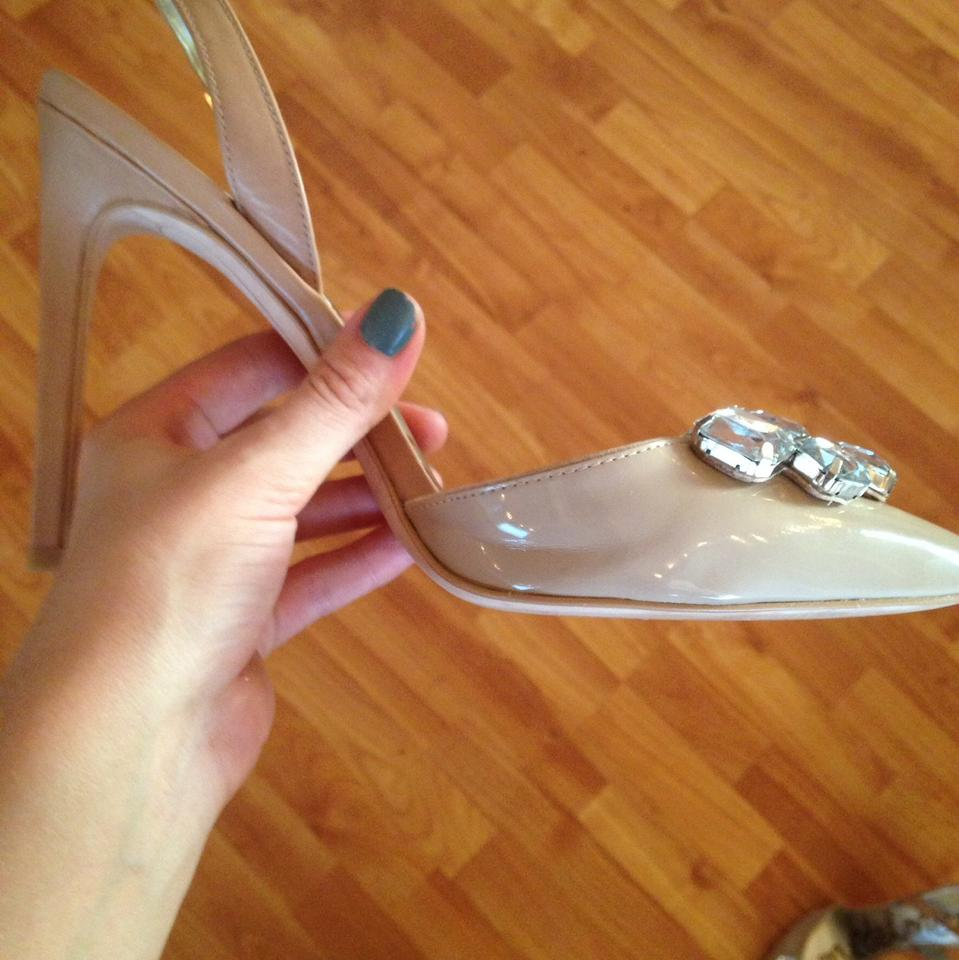 b13f3866d96 Sam Edelman Nude Mark Jeweled Point-toe Sling Back Pumps Size US 9 ...