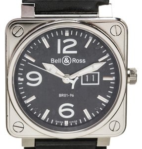 Bell & Ross Bell & Ross Black Leather Stainless Steel Watch BR01-96