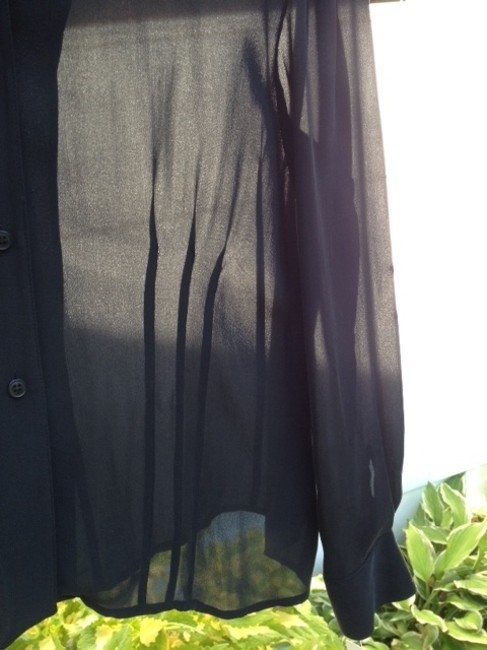 Jones New York Fitted Buttons Down The Front Button Cuffs Hem Can Be Worn Tucked In Or Out Top sheer black