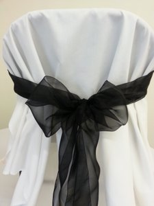 Free Ship Black Organza Chair Sashes-75