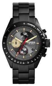 Fossil FOSSIL Mens Decker Chronograph Matte Black Stainless Steel Watch