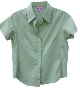 Bogari 75% Silk 22%cotton & 8% Spandex Button Down Shirt green