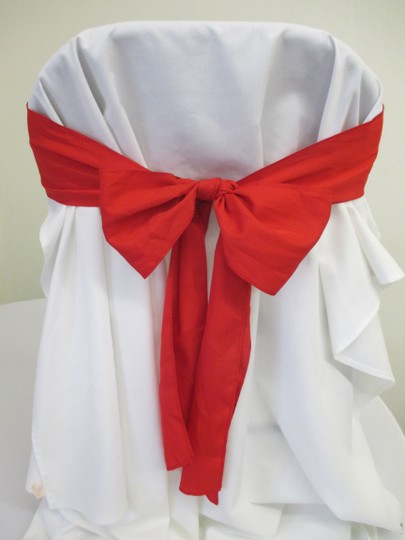 50 Free Ship Red Polyester Chair Sashes-50
