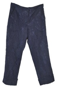 Mango Lace Ovelay Lace Overlay Straight Pants Navy