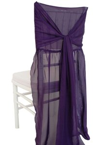 One Eggplant Chiffon Chivari Chair Cover- New