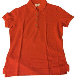 Herms Polo Shirt Cotton Button Up Button Down Shirt Orange