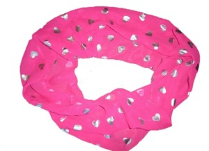 Hot Pink Shiny Silver Hearts Sheer Infinity Scarf
