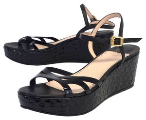 Sonia Rykiel Black Patent Leather Platform Wedges