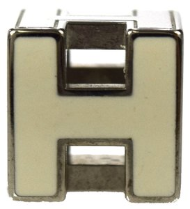 Hermès HERMES Logos H Cube Necklace Pendant Top Silver Plated Accessory