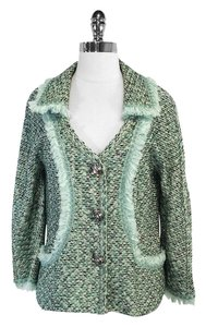 St. John Green Tan Metallic Tweed Jacket