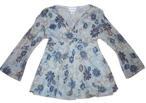 Motherhood Maternity MOTHERHOOD MATERNITY Blue Floral V-Neck Tie-Around Blouse Top