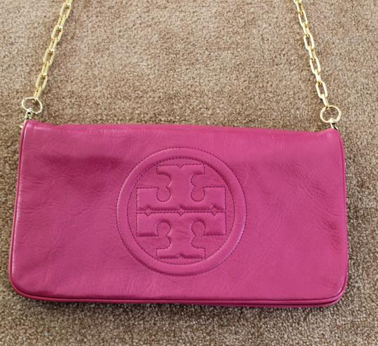 Tory Burch Leather Textured Bombe Clutch Shoulder Bag