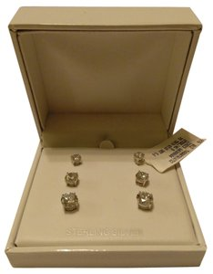 Anne Klein Anne Klein Trio Sterling Silver and Cubic Zirconia Stud Earrings