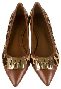 Tory Burch Leather Multicolor Brown Flats