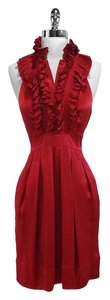 BCBGMAXAZRIA short dress Red Silk Pleated Halter on Tradesy