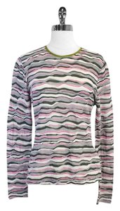 Missoni Grey Pink Knit Long Sleeve T Shirt